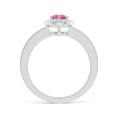 Toggle Pink Sapphire Halo Ring with Diamond Accents