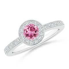 Round Pink Tourmaline Halo Ring with Diamond Accent