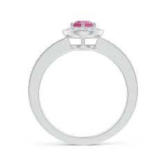 Toggle Pink Tourmaline Halo Ring with Diamond Accents