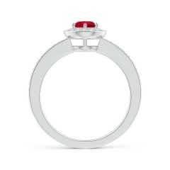 Toggle Ruby Halo Ring with Diamond Accents