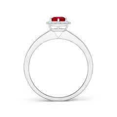 Round Ruby Halo Ring with Diamond Accent