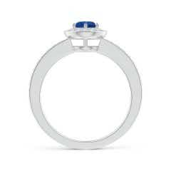 Toggle Blue Sapphire Halo Ring with Diamond Accents