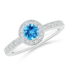 Swiss Blue Topaz Halo Ring with Diamond Accents