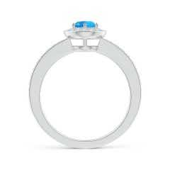 Toggle Swiss Blue Topaz Halo Ring with Diamond Accents