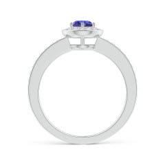 Toggle Tanzanite Halo Ring with Diamond Accents