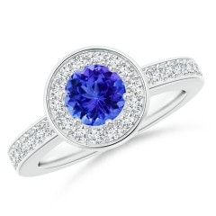 Tanzanite Halo Ring with Diamond Accents