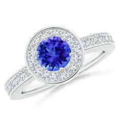 Round Tanzanite Halo Ring with Diamond Accent