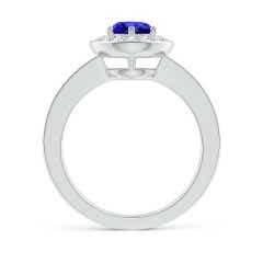 Toggle Tanzanite Halo Ring with Diamond Accents
