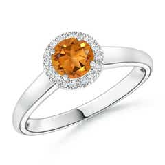 Classic Round Citrine and Diamond Halo Ring