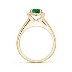 Toggle Classic Round Emerald and Diamond Halo Ring