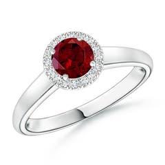 Classic Round Garnet and Diamond Halo Ring