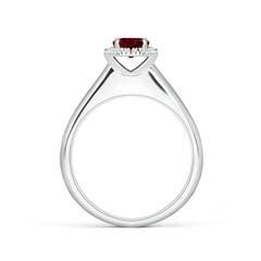 Toggle Classic Round Garnet and Diamond Halo Ring