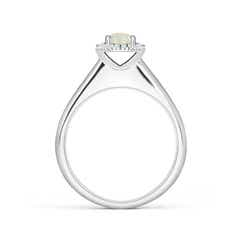Toggle Classic Round Opal and Diamond Halo Ring