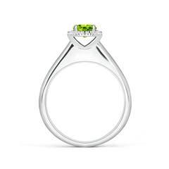 Toggle Classic Round Peridot and Diamond Halo Ring