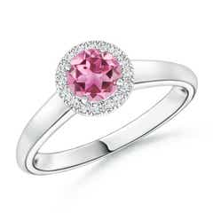 Classic Round Pink Tourmaline and Diamond Halo Ring