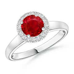 Classic Round Ruby and Diamond Halo Ring