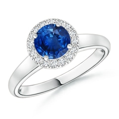 Classic Round Blue Sapphire and Diamond Halo Ring