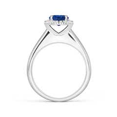 Toggle Classic Round Blue Sapphire and Diamond Halo Ring