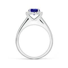 Toggle Classic Round Tanzanite and Diamond Halo Ring