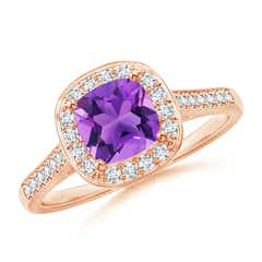 Vintage Inspired Diamond Halo Cushion-Cut Amethyst Ring