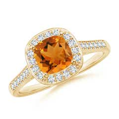 Classic Cushion Citrine Ring with Diamond Halo