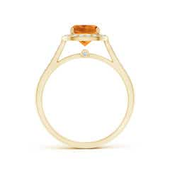 Toggle Classic Cushion Citrine Ring with Diamond Halo