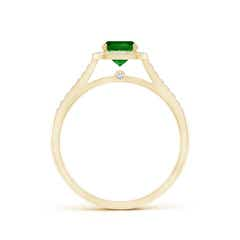 Toggle Classic Cushion Emerald Ring with Diamond Halo
