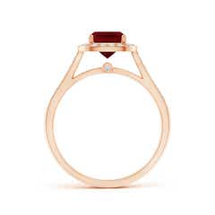 Toggle Classic Cushion Garnet Ring with Diamond Halo
