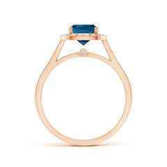 Toggle Classic Cushion London Blue Topaz Ring with Diamond Halo