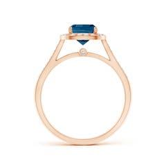 Toggle Classic Cushion London Blue Topaz Ring with Diamond Halo