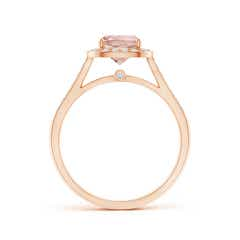 Vintage Inspired Diamond Halo Cushion-Cut Morganite Ring
