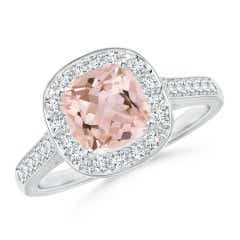 Classic Cushion Morganite Ring with Diamond Halo