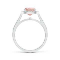 Toggle Classic Cushion Morganite Ring with Diamond Halo