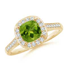 Classic Cushion Peridot Ring with Diamond Halo