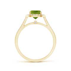 Toggle Classic Cushion Peridot Ring with Diamond Halo