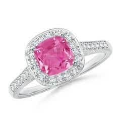 Classic Cushion Pink Sapphire Ring with Diamond Halo