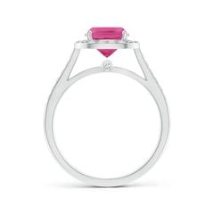 Toggle Classic Cushion Pink Sapphire Ring with Diamond Halo