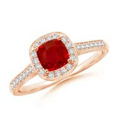 Vintage Inspired Diamond Halo Cushion Cut Ruby Ring