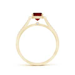 Vintage Inspired Diamond Halo Cushion-Cut Ruby Ring