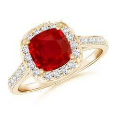 Classic Cushion GIA Certified Ruby Ring with Diamond Halo