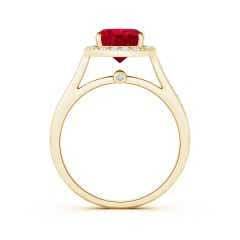 Toggle Classic Cushion GIA Certified Ruby Ring with Diamond Halo
