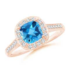 Classic Cushion Swiss Blue Topaz Ring with Diamond Halo