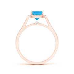 Toggle Classic Cushion Swiss Blue Topaz Ring with Diamond Halo