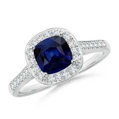 Vintage Diamond Halo Cushion-Cut Blue Sapphire Ring