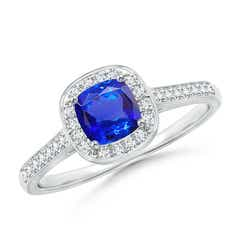 Classic Cushion Tanzanite Ring with Diamond Halo