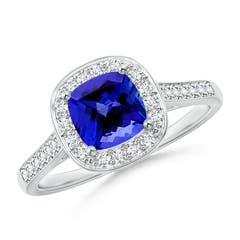Vintage Style Diamond Halo Cushion-Cut Tanzanite Ring