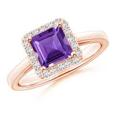 Classic Square Amethyst Halo Ring
