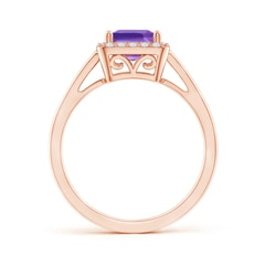 Toggle Classic Square Amethyst Halo Ring