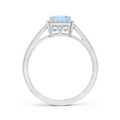 Toggle Classic Square Aquamarine Halo Ring