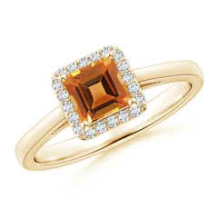 Classic Square Citrine Halo Ring